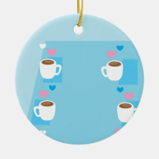 Coffee club group gathering of coffees round ceramic ornament