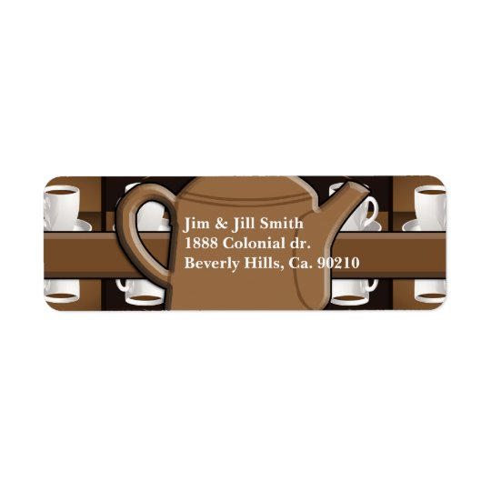 Coffee Coffee Coffee Mosaic Monogram Return Address Label