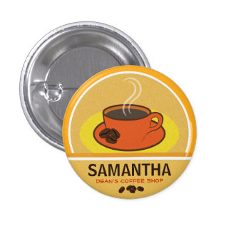 Coffee Coffee Cup Shop Cafe Staff ID Name Tags 1 Inch Round Button