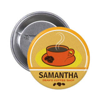 Coffee Coffee Cup Shop Cafe Staff ID Name Tags Pinback Buttons