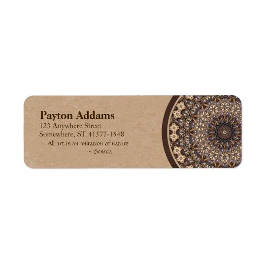 Coffee Colours Abstract Mandala Return Address Label