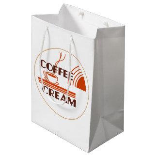 Coffee Cream :: Retro Dairy Milk Bottle Cap Design Medium Gift Bag