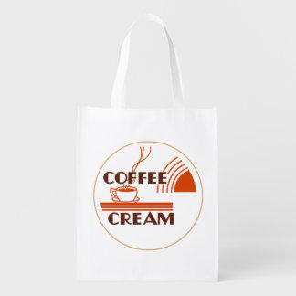 Coffee Cream Retro Dairy Milk Bottle Cap Design :: Reusable Grocery Bag