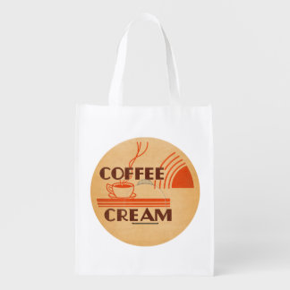 Coffee Cream Retro Dairy Milk Bottle Cap :: Reusable Grocery Bag