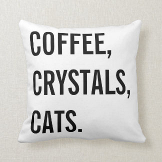 Coffee, Crystals, Cats Throw Pillow