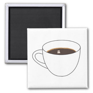 Coffee Cup 2 Square Magnet