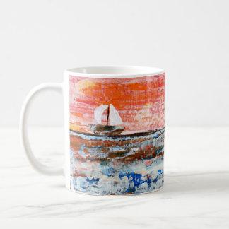Coffee Cup, Acrylic, Ocean, Abstract Art Coffee Mug