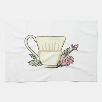 Coffee Cup And Rose Kitchen Towel