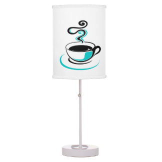 Coffee cup aqua table lamp