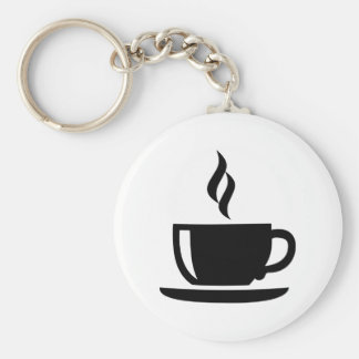 Coffee cup basic round button keychain