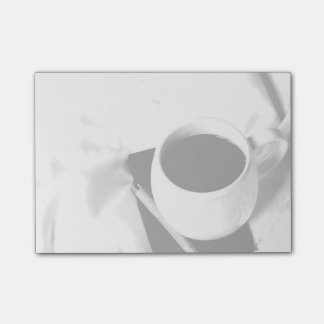 Coffee Cup Black and White Breakfast in Bed Post-it Notes