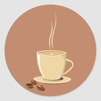 Coffee Cup Classic Round Sticker