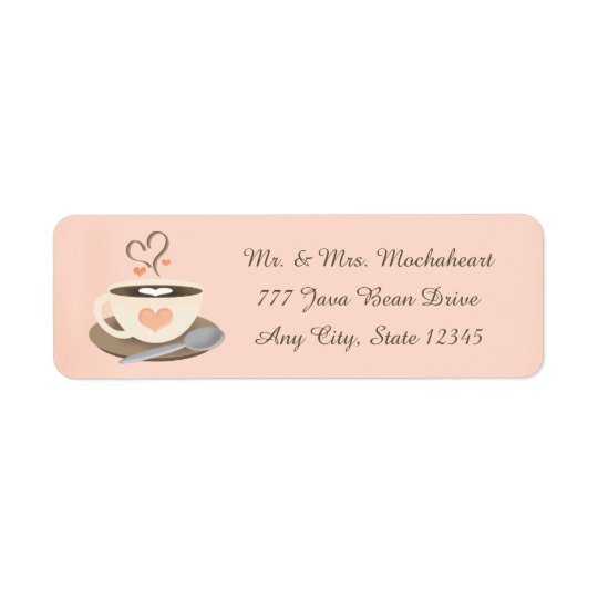 Coffee Cup Heart Return Address Label