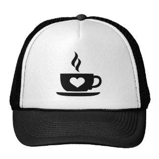 Coffee cup heart trucker hat