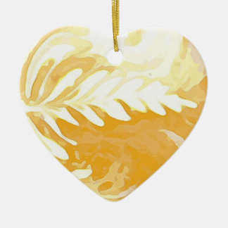 Coffee cup Leaves of Cream Ceramic Ornament