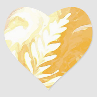 Coffee cup Leaves of Cream Heart Sticker