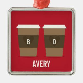 Coffee Cup Love Metal Ornament