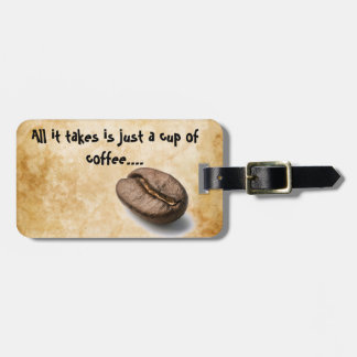 Coffee cup luggage tags