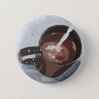 Coffee Cup Painting Button - Silver and Gold