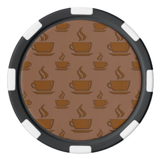 Coffee Cup Pattern Brownish Poker Chips