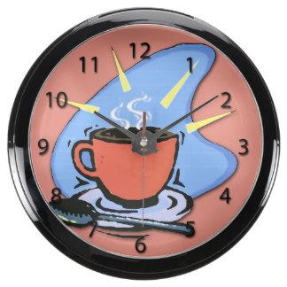 Coffee - Cup, Saucer, Spoon Aqua Clock