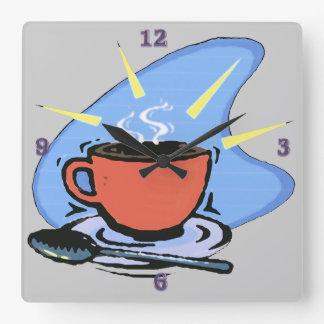 Coffee  - Cup, Saucer, Spoon Square Wall Clock
