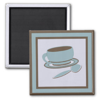 Coffee Cup & Spoon Square Magnet