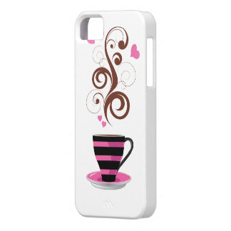 Coffee Cup Swirls Hearts - Pink Black Brown iPhone 5/5S Cases