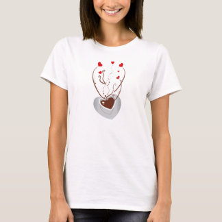 Coffee Cup, Swirls, Hearts - Red White Brown T-Shirt
