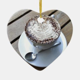 Coffee cup with cream ceramic ornament