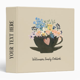 Coffee Cup with Heart and Flowers Recipe Binder