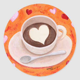 Coffee Cup with Hearts Round Sticker