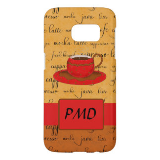 Coffee Cup Word Art Tan, Brown Red Monogram Samsung Galaxy S7 Case