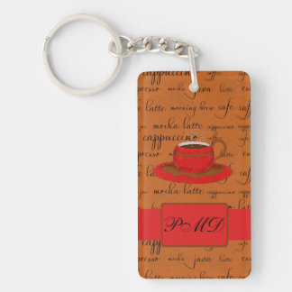 Coffee Cup & Words Brown & Red Monogrammed Double-Sided Rectangular Acrylic Keychain