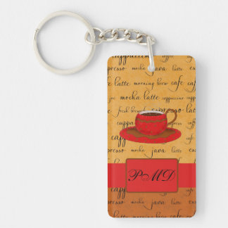 Coffee Cup & Words Gold, Brown & Red Monogrammed Double-Sided Rectangular Acrylic Keychain