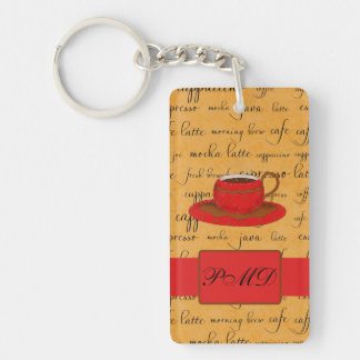Coffee Cup & Words Gold & Red Monogrammed Double-Sided Rectangular Acrylic Keychain