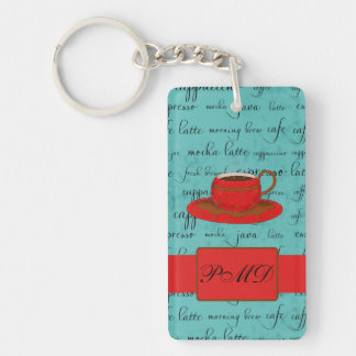 Coffee Cup & Words Turquoise  & Red Monogrammed Double-Sided Rectangular Acrylic Keychain