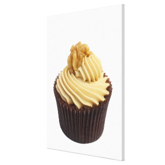 Coffee cupcake topped with coffee cream and a stretched canvas print