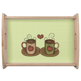 Coffee Cups, Apples and Hearts Serving Tray