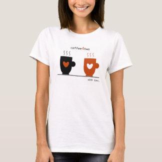 Coffee Cups Warm Love Cute Romantic Chic Cartoon T-Shirt