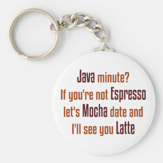 Coffee Date Basic Round Button Keychain