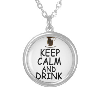 coffee design silver plated necklace