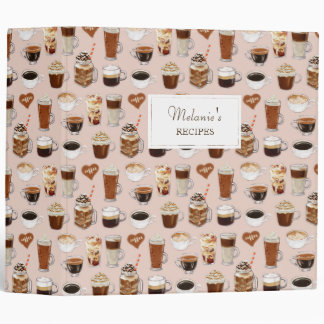 Coffee Drinks and Desserts Pattern 3 Ring Binders
