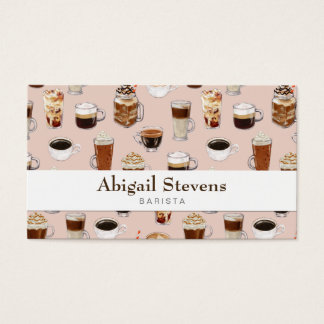 Coffee Drinks and Desserts Pattern Business Card