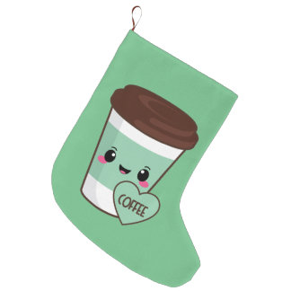 Coffee Emoji Lover Large Christmas Stocking