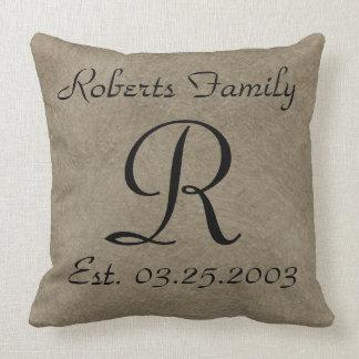 Coffee Faux Leather Monogram Anniversary Throw Pillow