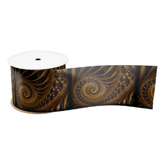 coffee feathers fractal ribbon satin ribbon