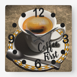 Coffee First Square Wall Clock