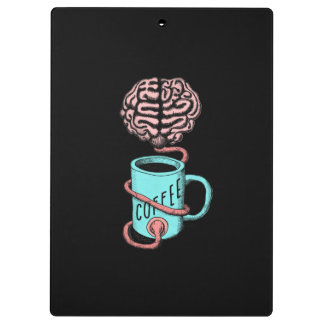Coffee for the brain. Funny coffee illustration Clipboard
