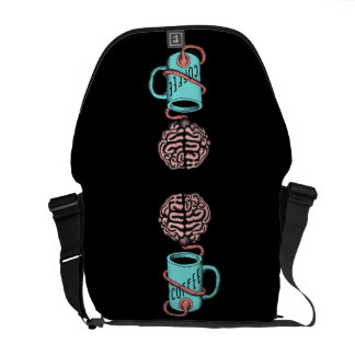 Coffee for the brain. Funny coffee illustration Commuter Bags